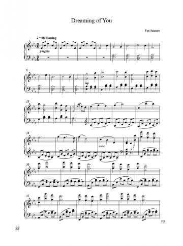 "The first page of music from the song, ""Dreaming of You"""